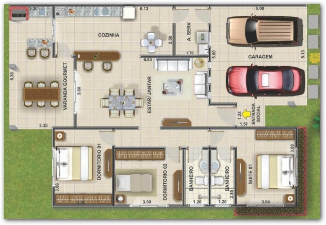 Plano de casa con quincho en el 1054 727 for Planos de casas minimalistas