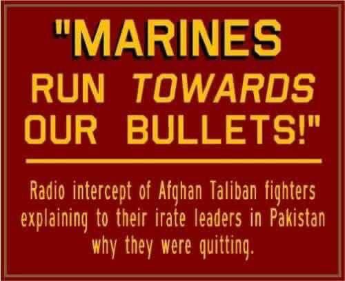 Marines run towards bullets.