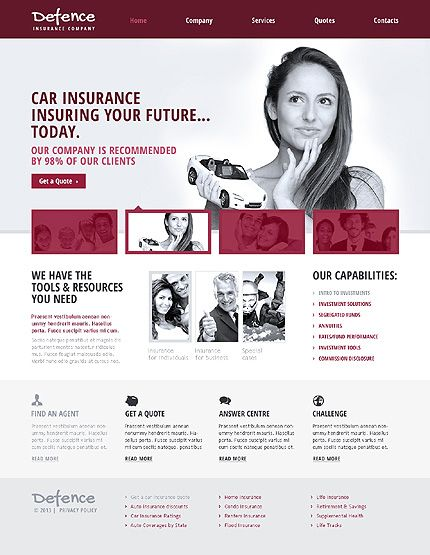 template 46001 defence insurance responsive website template