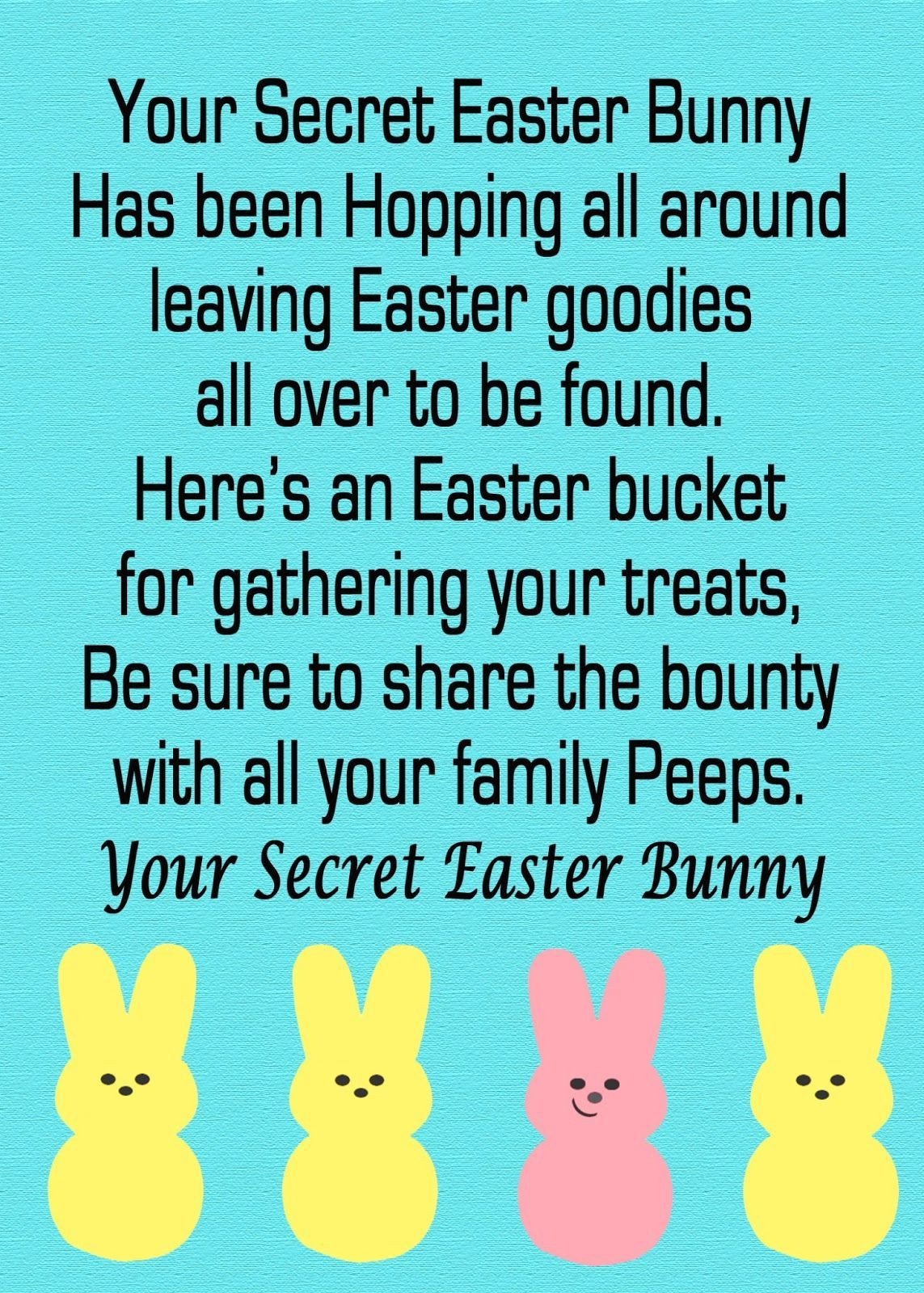 Secret easter bunny free printable pinterest easter hunt easter hunt idea for kids secret easter bunny poem free printable negle Images