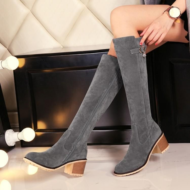 849f43f709ec Women s Suede Block High Heel Round Toe Side Zip Riding Shoes Knee High  Boots V9