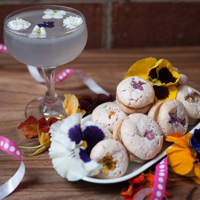 5. Rhubarb Macarons with Edible Micro Flowers and Lemon Curd Filling (plus an Aviation Cocktail!) from @Hapatite