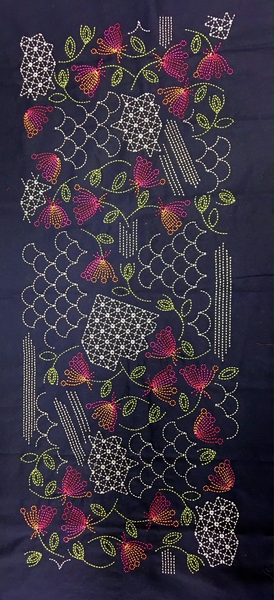 Sashiko Shell Panel Pre Printed For Ease Of Stitching