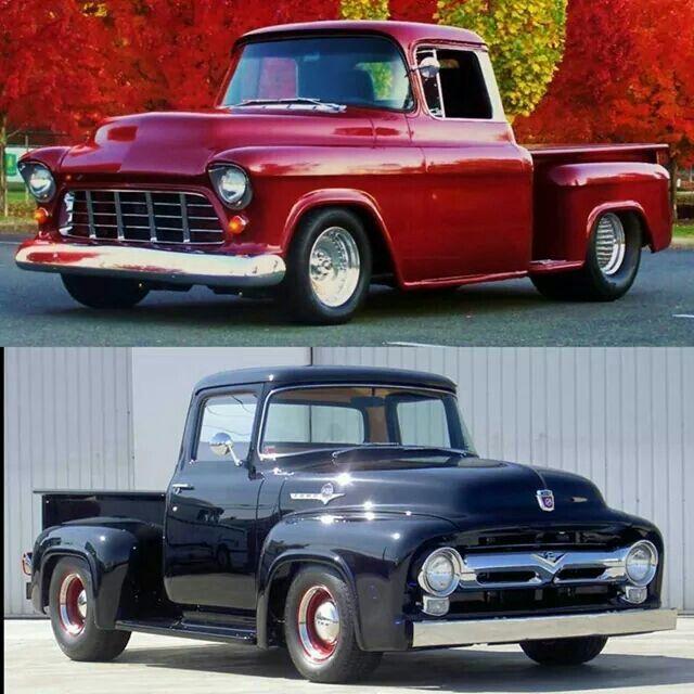 56 Chevy Vs 56 Ford I Say Chevy Old Trucks
