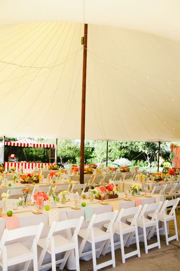 Sperry Tent. Different Chairs. Different Colors. But a sperry tent with wood poles and lights.