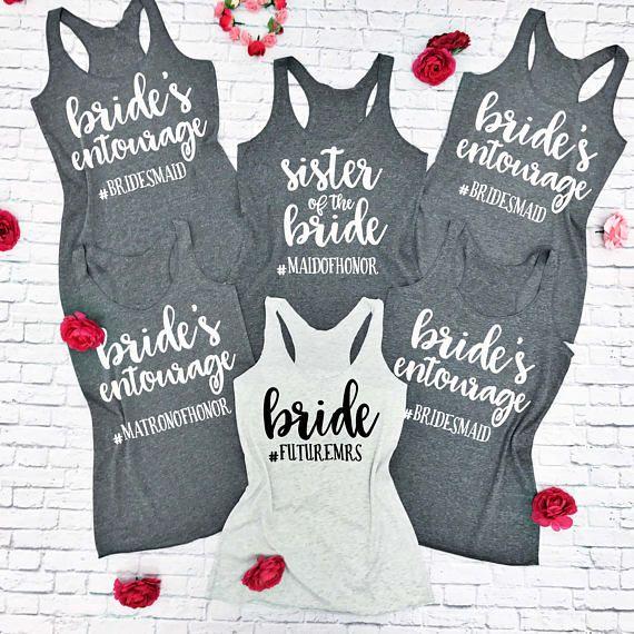 e13f680ef 5 Bridesmaid tank tops. Custom Bridesmaids Shirts. Bridal Party Shirts.  Bachelorette Tanks.