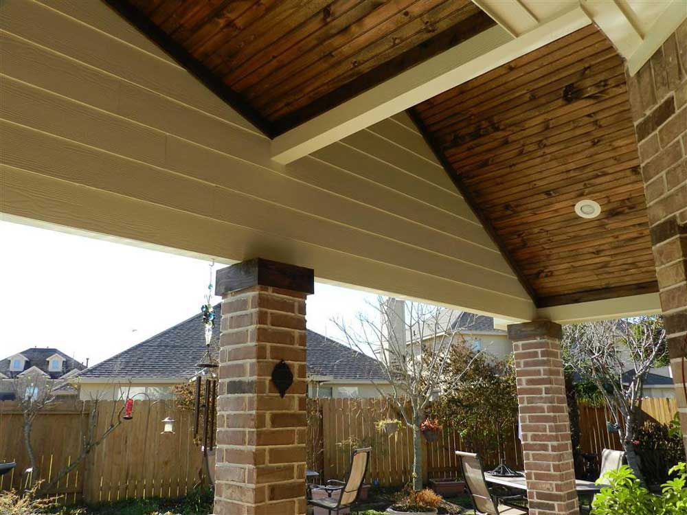 Downlights For Vaulted Ceilings With Wooden Ceiling Material And Brick Wall  Veranda