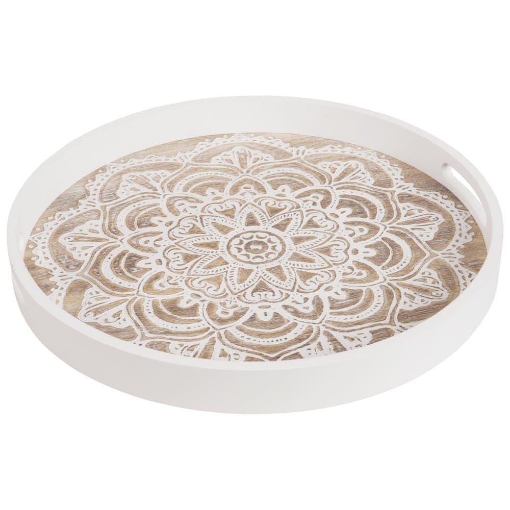 White Round Tray With Handles Maisons Du Monde Round Tray Tray Decor Tray