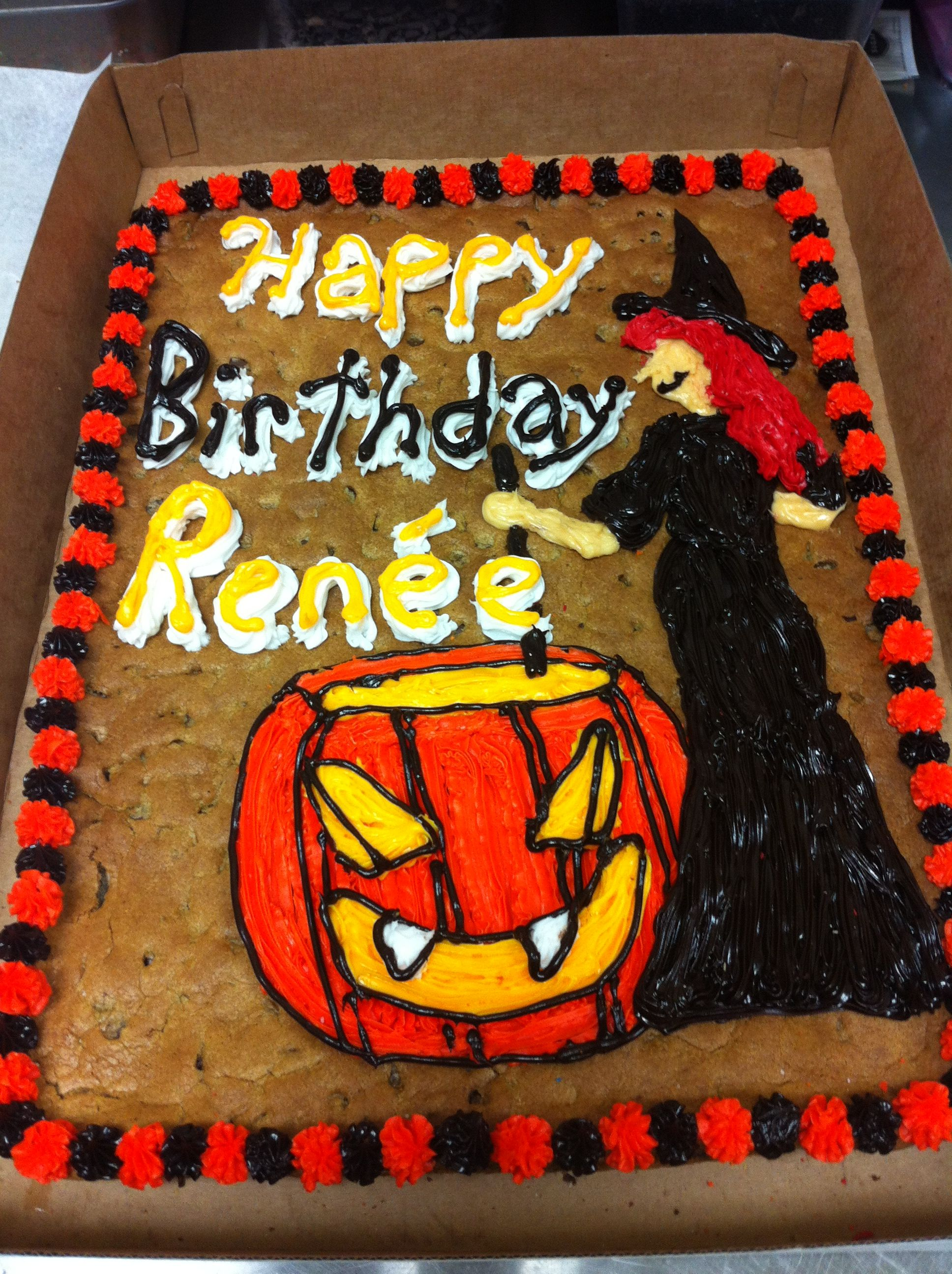 Halloween themed birthday cookie cake Happy Birthday Renée