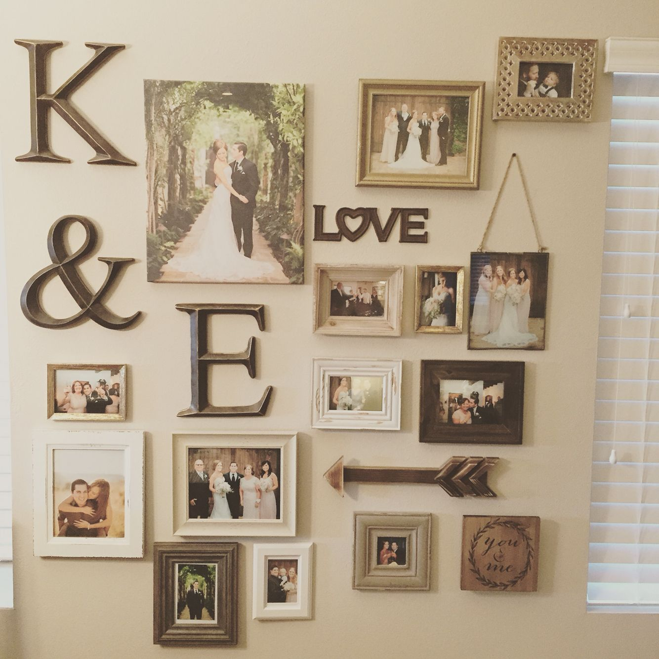 my gallery wall of wedding photos my home and it 39 s decor wedding photo walls diy home decor. Black Bedroom Furniture Sets. Home Design Ideas
