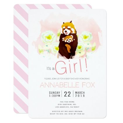 #Pink Girl 'Red Panda' Baby Shower Invitation Card - #floral #gifts #flower #flowers