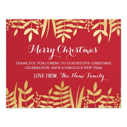 Merry Christmas Thank You Cards Red  Gold Xmas  Merry Christmas
