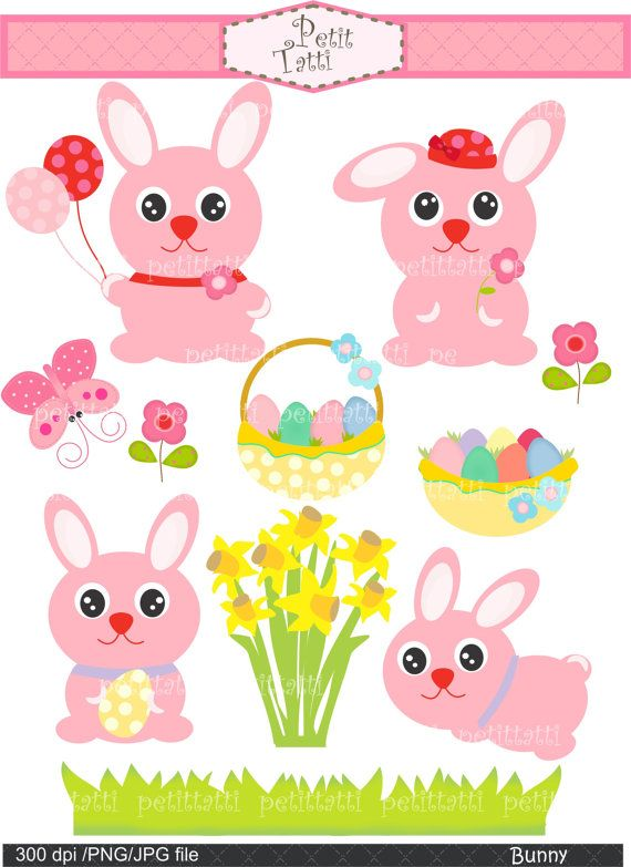 Easter day Digital clip art  Bunny Easter daffodile by petittatti, $4.80