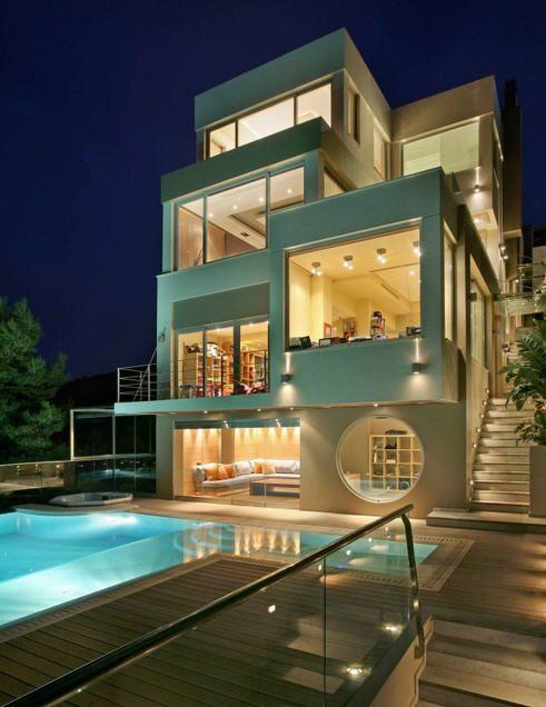Somptueuse villa design en Grèce! Maisons contemporaines, Villa et