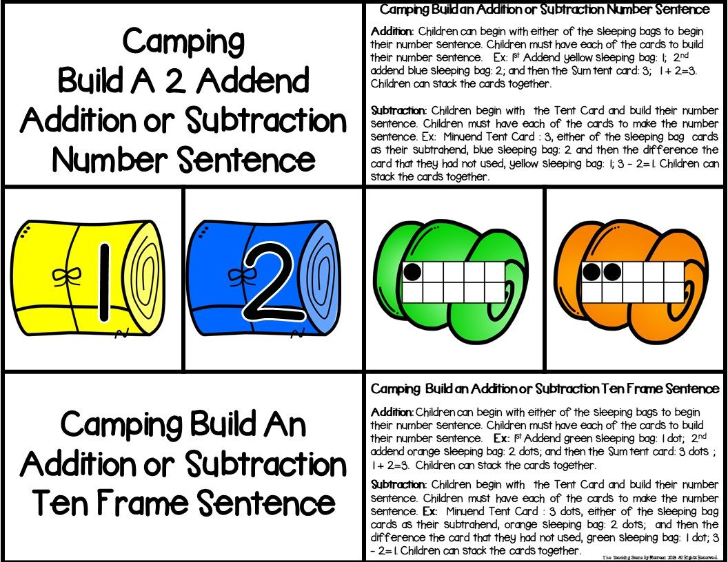Camping 2 Addend Addition Amp Subtraction Facts 0 20 With