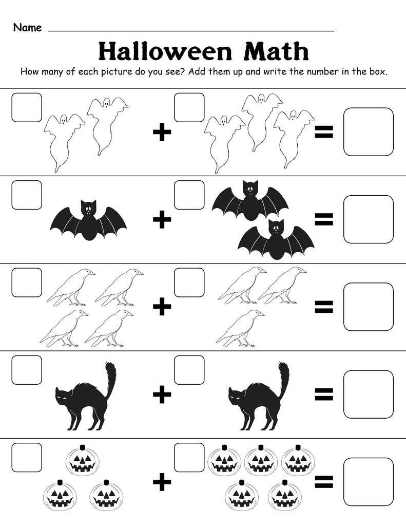 Printable Halloween Themed Addition With Pictures Worksheet Halloween Worksheets Halloween Math Worksheets Halloween Worksheets Free [ 1024 x 791 Pixel ]