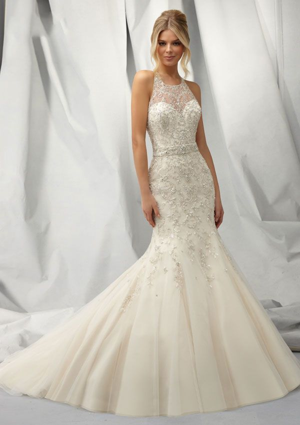 Y Trumpet Mermaid Halter Beading Crystal Detailing Embroidery Sweep Brush Train Tulle Wedding Dresses