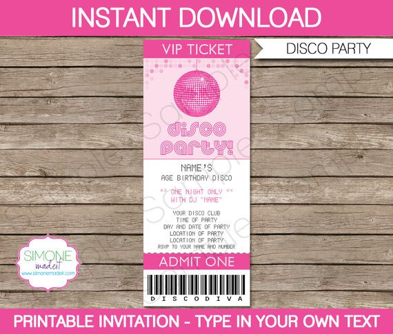 Disco Ticket Invitation Template - Birthday Party - INSTANT - party tickets templates