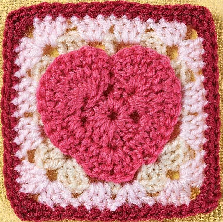 Heart motif granny square | CROCHET | Pinterest