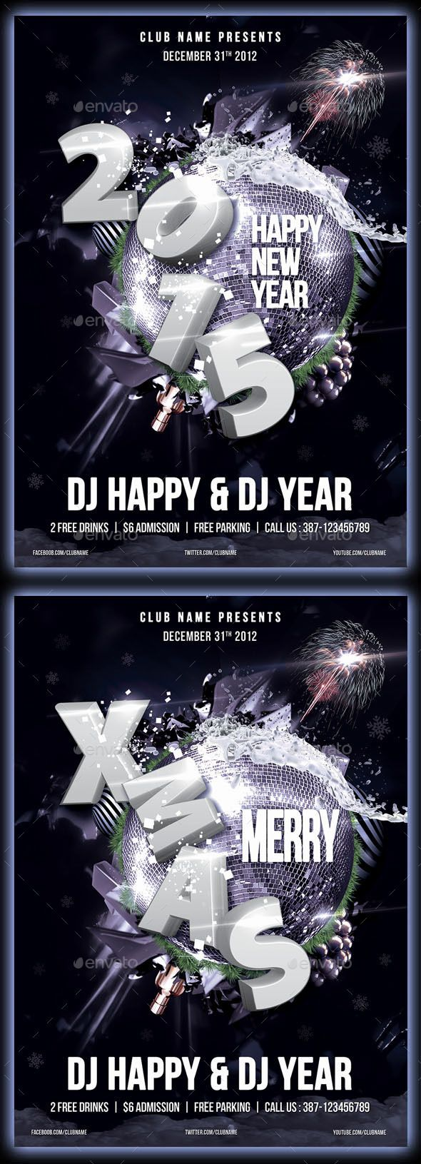 New Year  Xmas Party Flyer  Party Flyer Flyer Template And