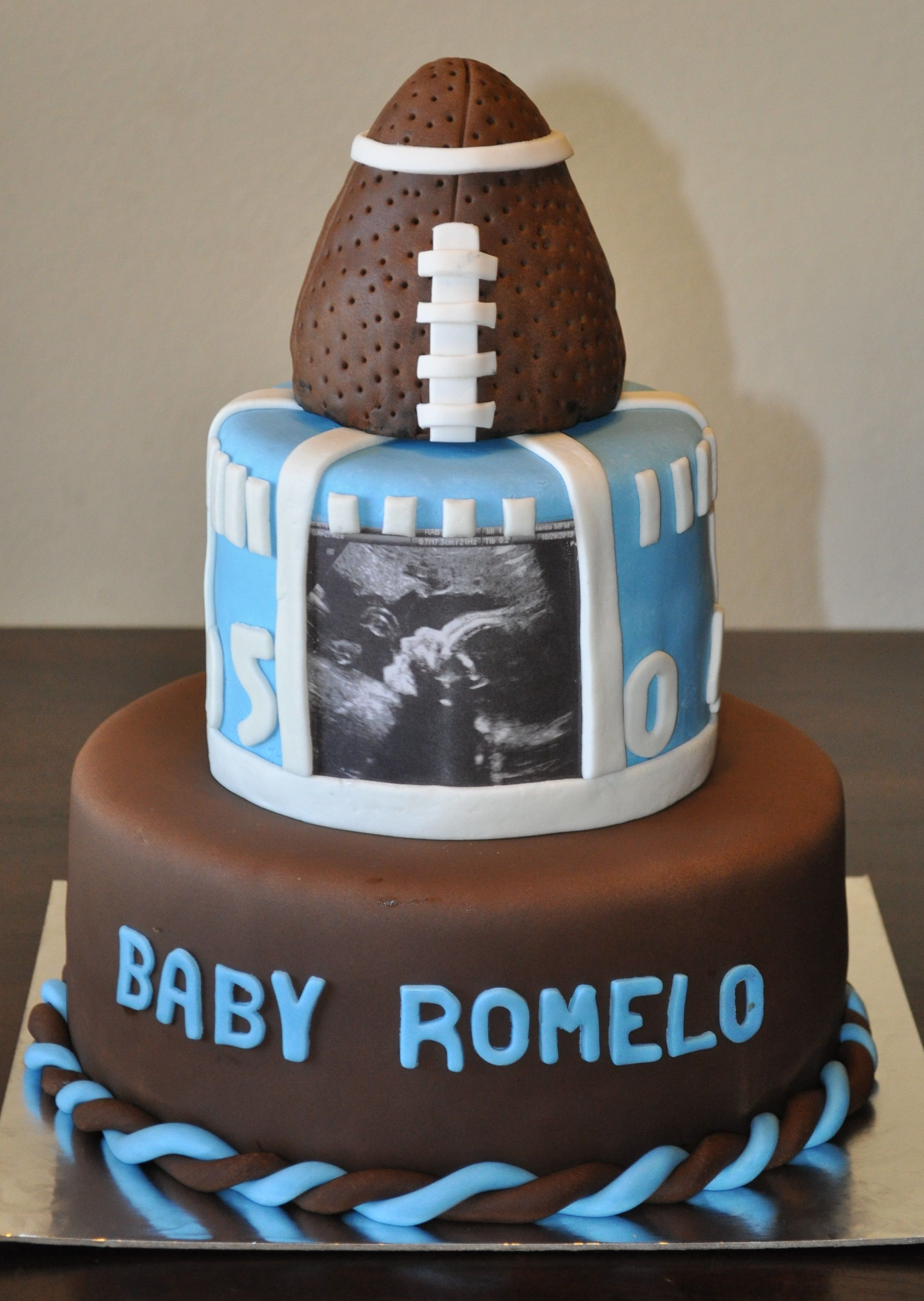 Football Themed Baby Shower Cake By Summers Sweet Treats Cupcakes