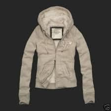 Authentic Abercrombie and Fitch Ava Fur Beige Heather Oatmeal Hoodie Size Small