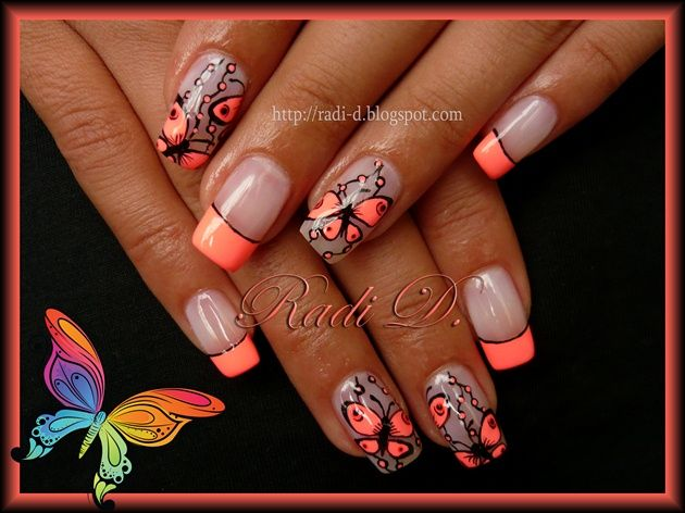 Neon French  Butterflies by RadiD - Nail Art Gallery nailartgallery.nailsmag.com by Nails Magazine www.nailsmag.com #nailart