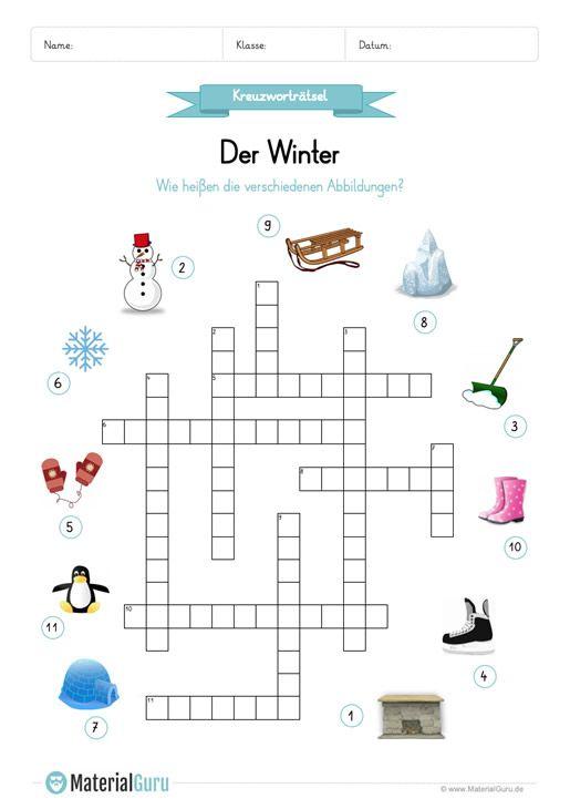ein kostenloses arbeitsblatt zum thema winter auf dem die kinder ein kreuzwortr tsel zum winter. Black Bedroom Furniture Sets. Home Design Ideas