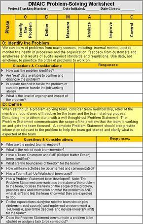 DMAIC Problem-Solving Worksheet Super Project Manager Pinterest - define spreadsheet