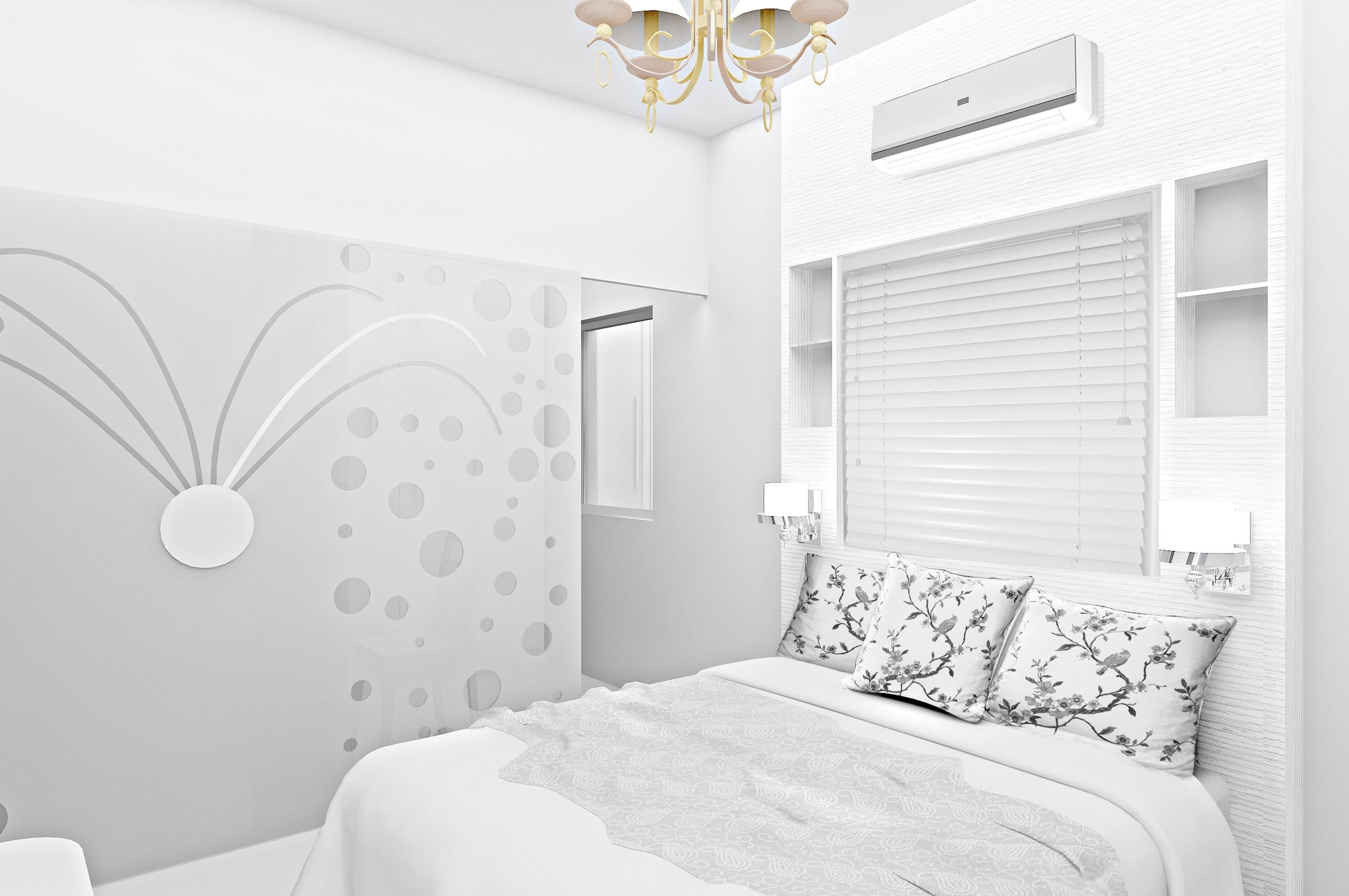 Marvelous small white bedroom decors with blinds windows for Small white bedroom