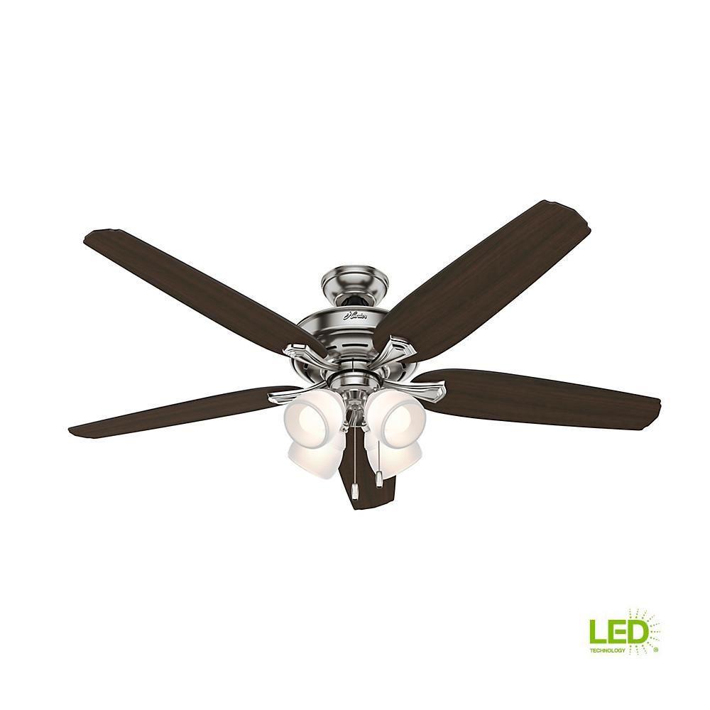 Hunter Channing 60 In Led Indoor Brushed Nickel Ceiling Fan With Light Kit 54131 Brushed Nickel Ceiling Fan Ceiling Fan With Light Fan Light