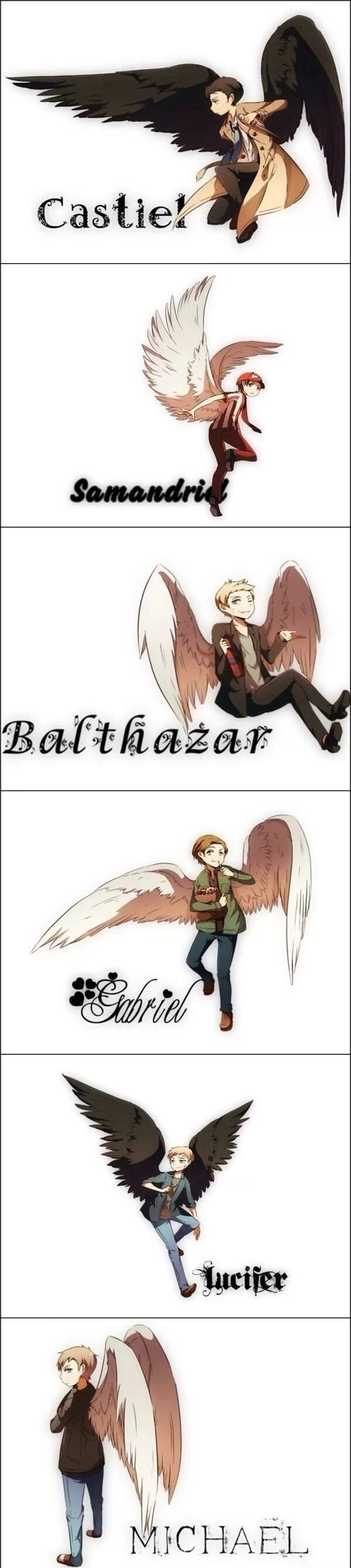 the angels we actually liked except the last one Lucifer is tied with Castiel as my favorite
