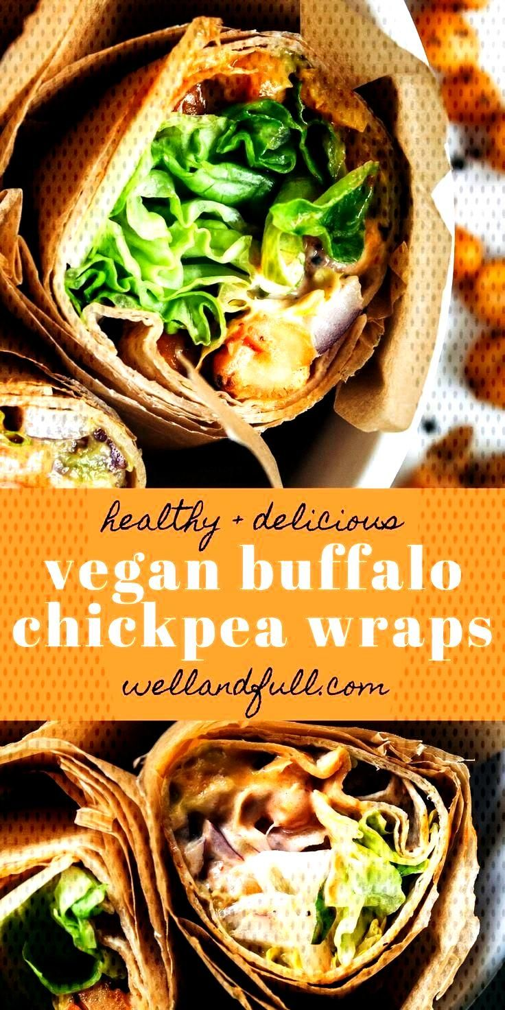 Vegan Buffalo Chickpea Wraps | Well and Full  - Healthy Lunches -