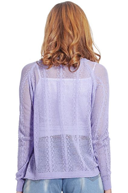Hollowed Dolman Sleeves Purple Jumper
