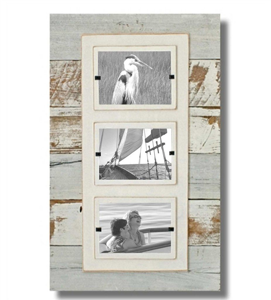 Reclaimed Wood Triple Photo Frame, White Wash (15 x 23)   Woods and ...