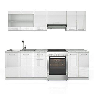 Küche 240 Cm Küchenzeile Küchenblock Einbauküche Weiss Hochglanz