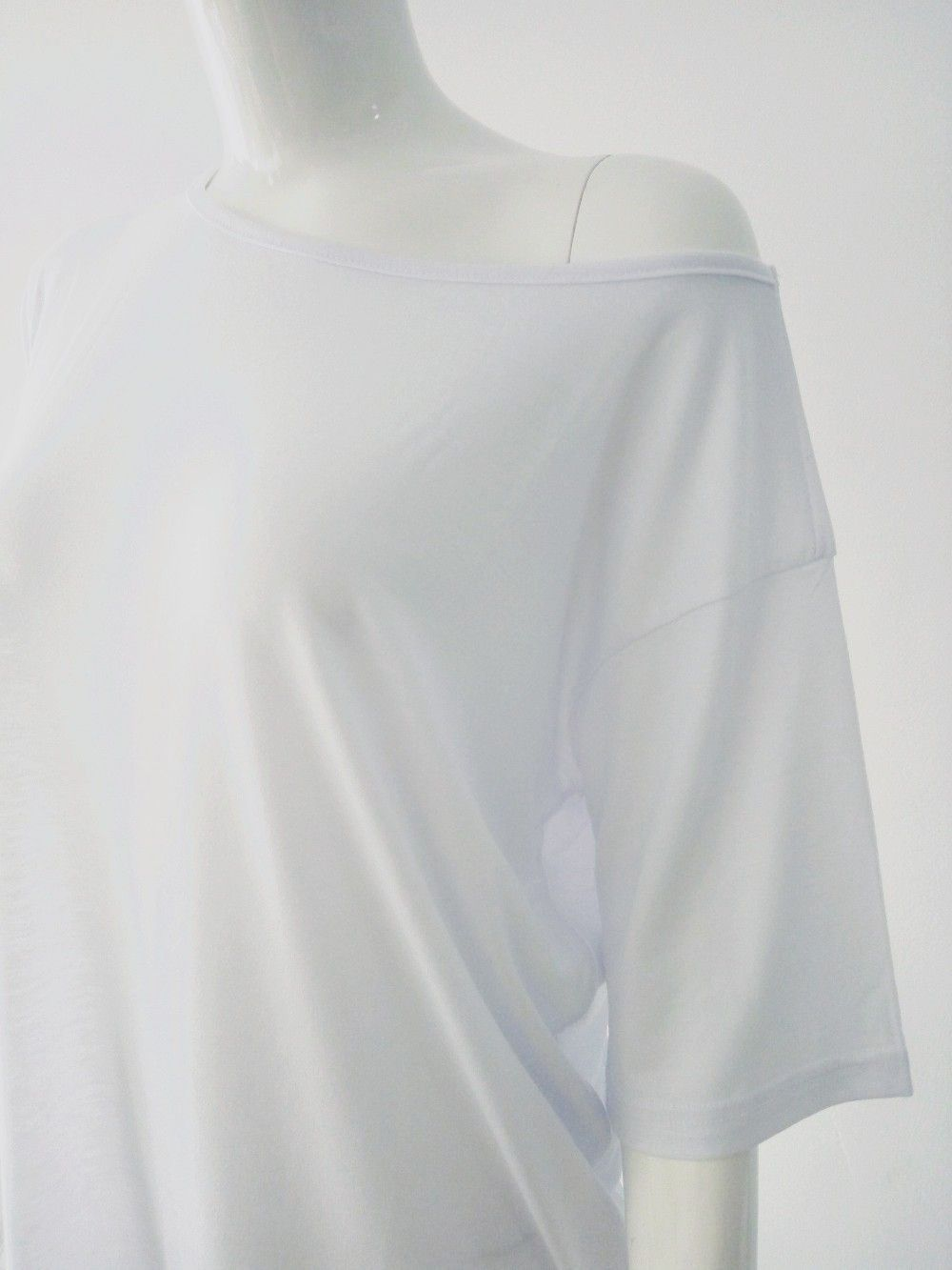 ae6329f2873 White Plain Irregular Batwing Oblique Shoulder Short Sleeve Loose Casual  Fashion T-Shirt - Tops