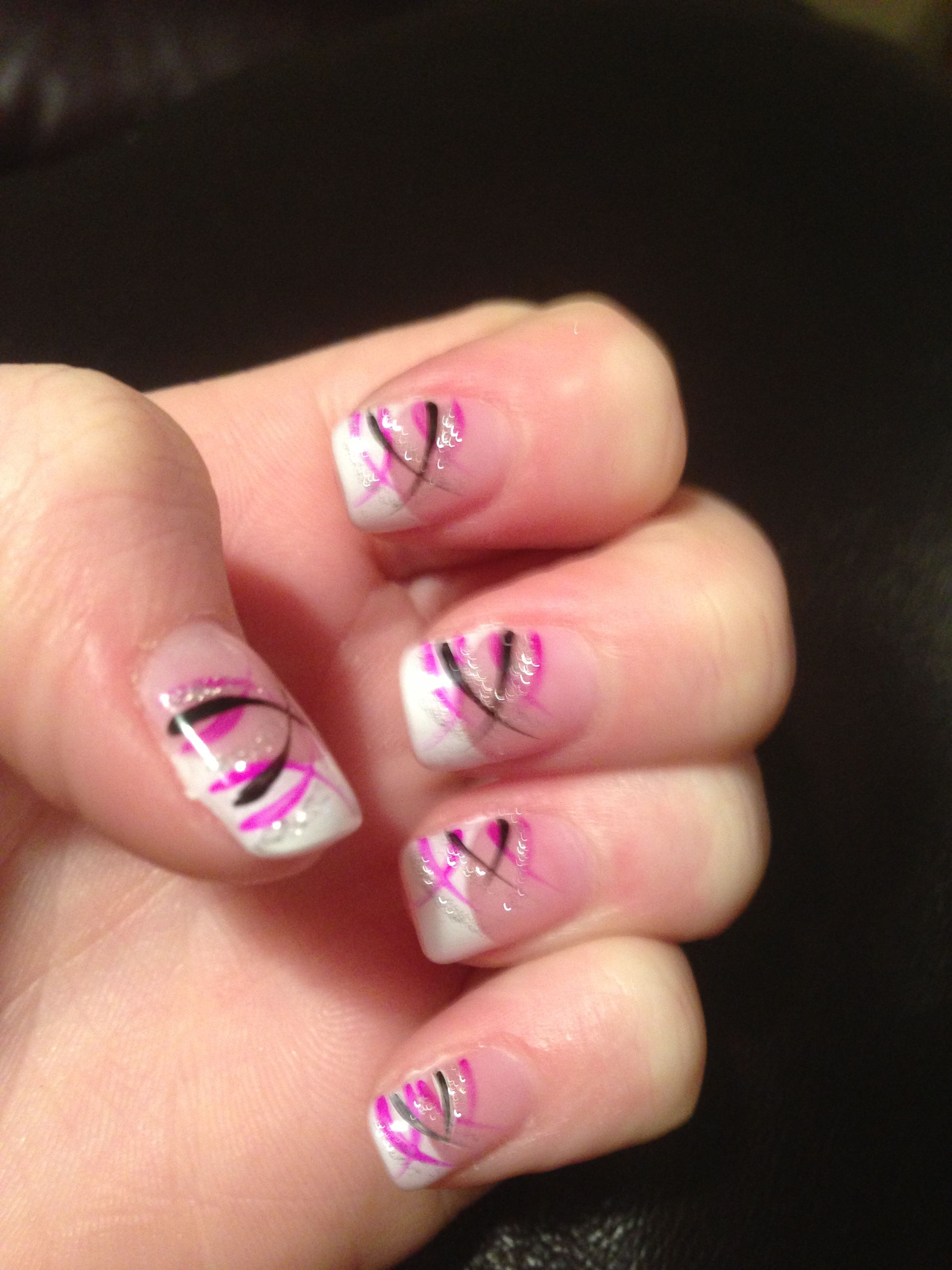 white tips with black, silver and pink design | Nails :) | Pinterest ...