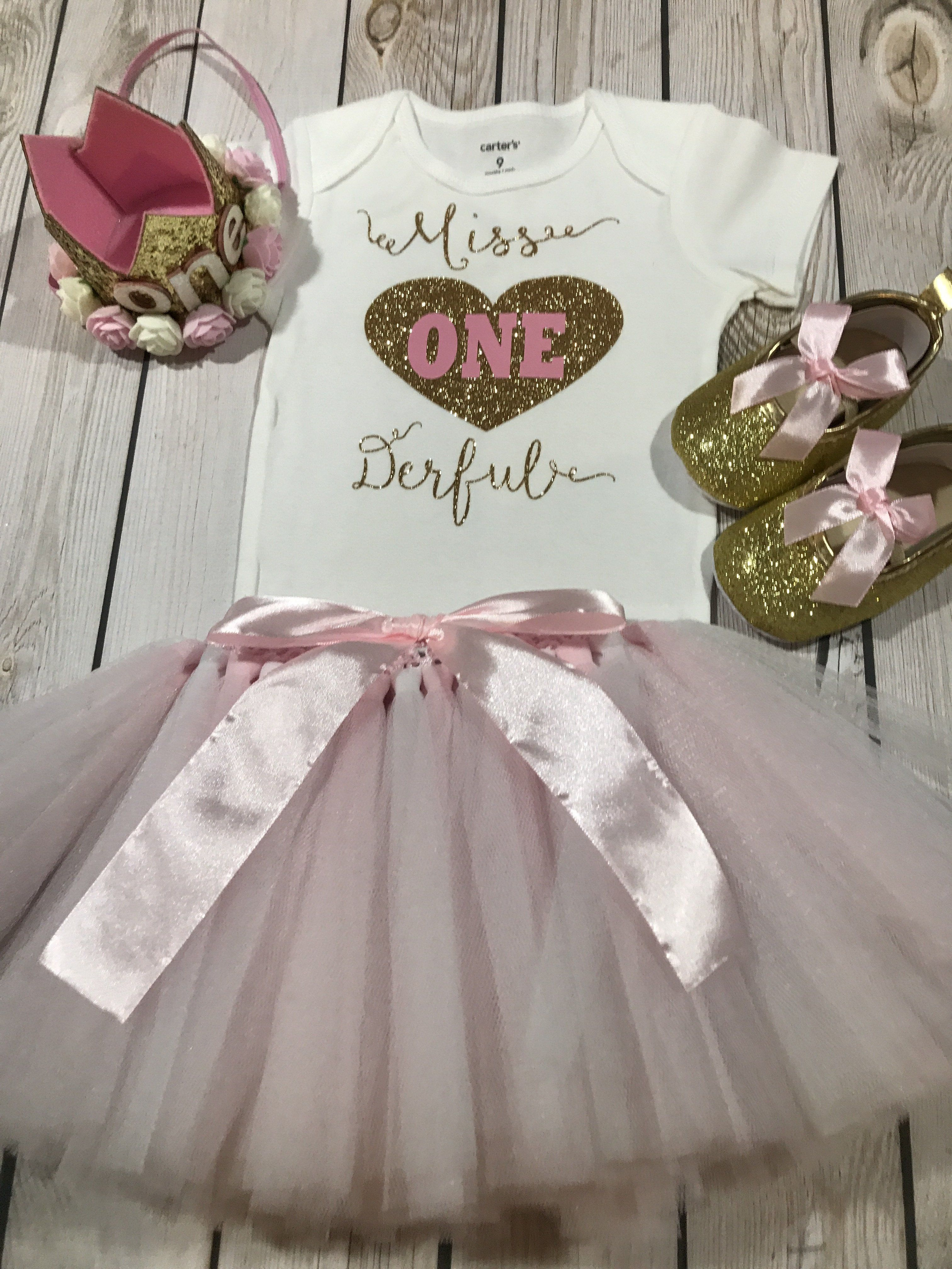 c7c99577a202c Miss ONE derful outfit baby girl, first birthday outfit pink, crown ...