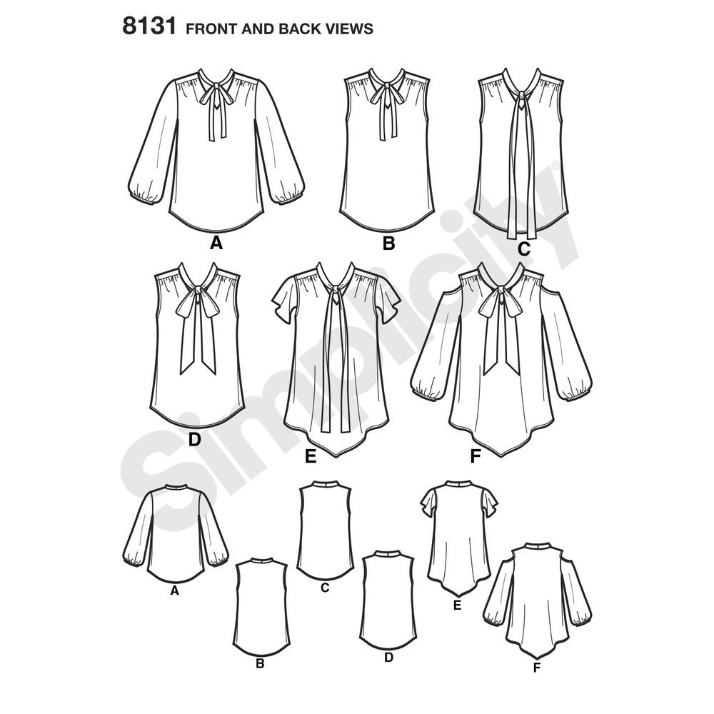 Simplicity Pattern 8131 Misses\' Bow Blouses with Sleeve Variations ...