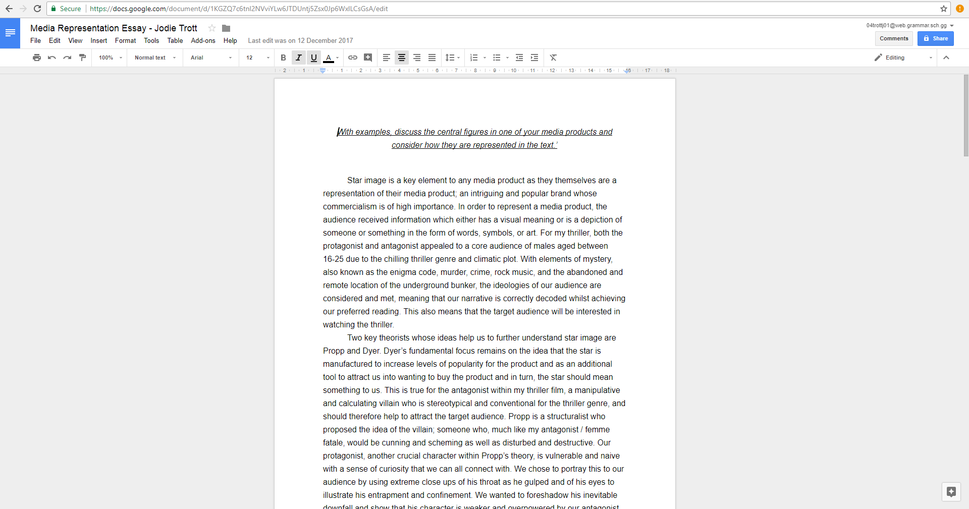 Production  Google Docs Is A Brilliant Tool Which Enabled Me To