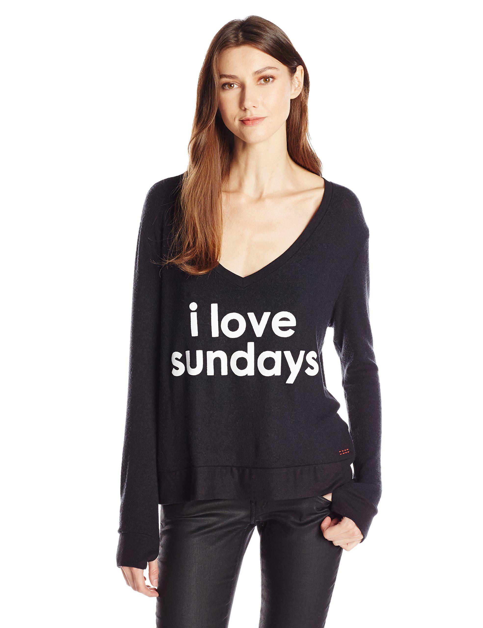 Peace Love World Womens I Love Sundays Comfy Cozy Sweatshirt Black X Large