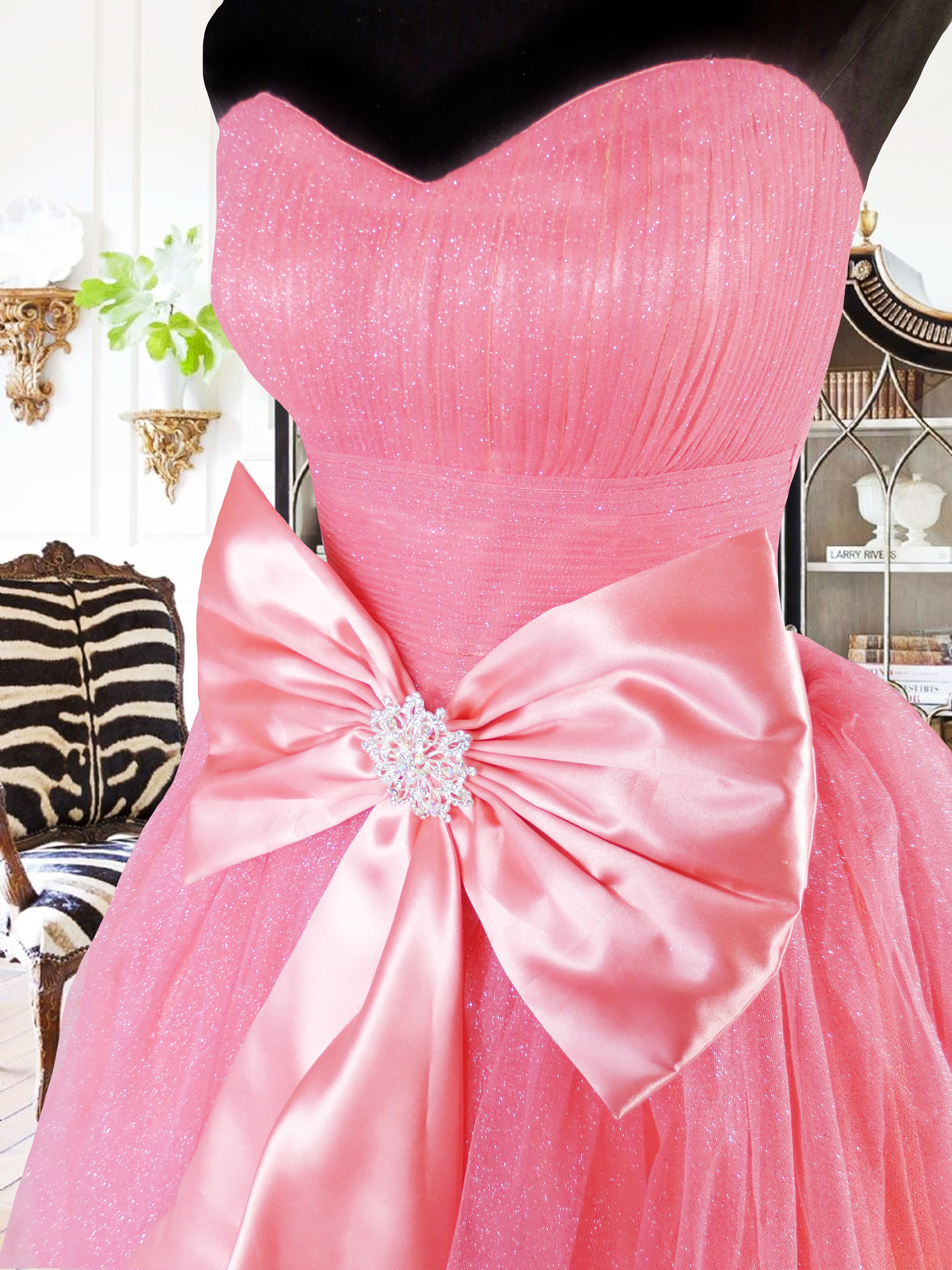 Tulle Ball Gown Debut Pomelo Pink With Bow Satin Ribbon