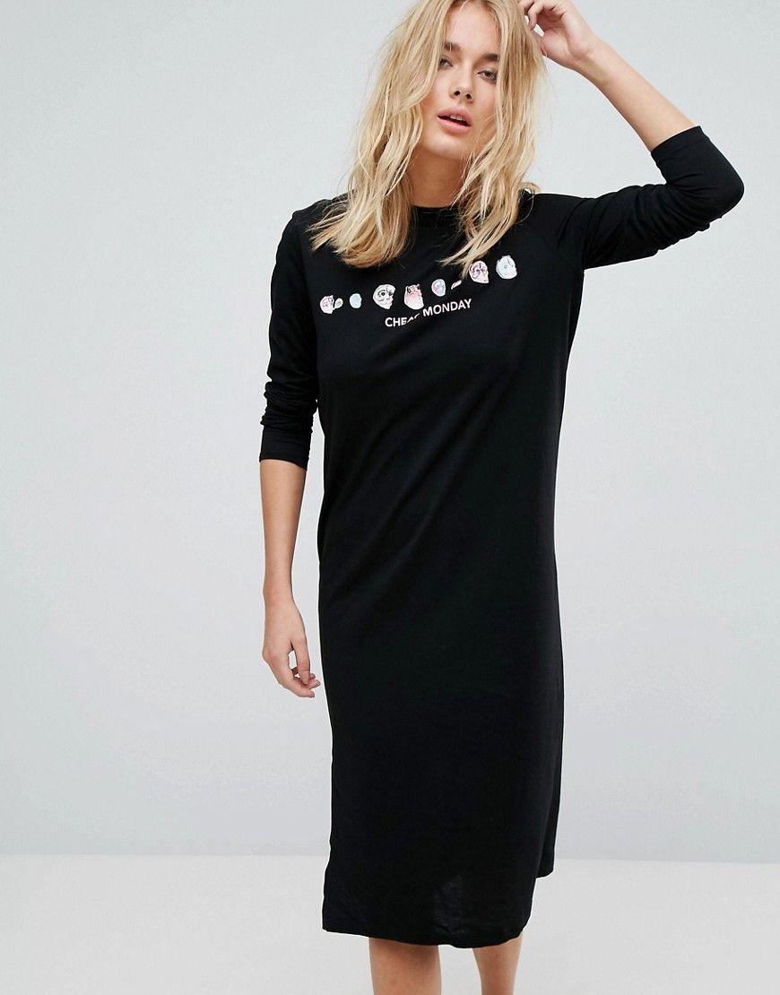 676208996a9e CHEAP MONDAY SKULL FLORAL LONG SLEEVE T SHIRT DRESS - BLACK.  cheapmonday   cloth