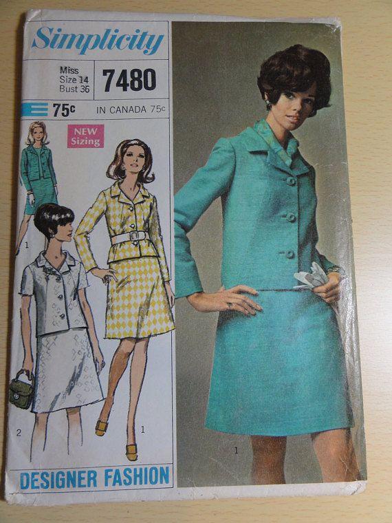 1967 Vintage Suit Jacket & Skirt Simplicity Sewing Pattern | Dream ...