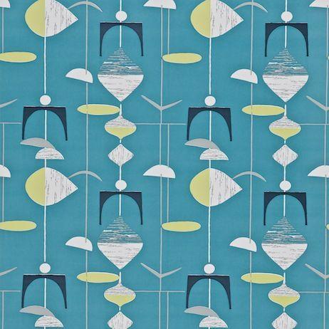 Sanderson Mobiles Wallpaper Slate Blue Lime 1950s Wallpaper Retro Wallpaper Pattern Wallpaper