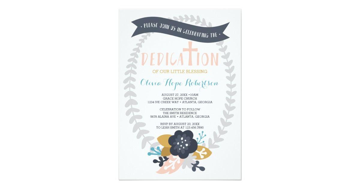 Baby Dedication Invitation Floral Contemporary Invitation