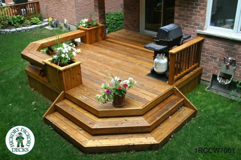 Single Level Deck With Benches And Planters Backyard Backyard