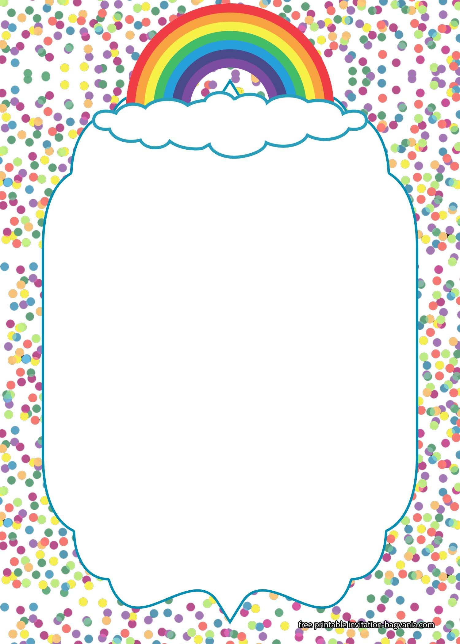 FREE Rainbow Pamper Invitation Templates | Free birthday ...