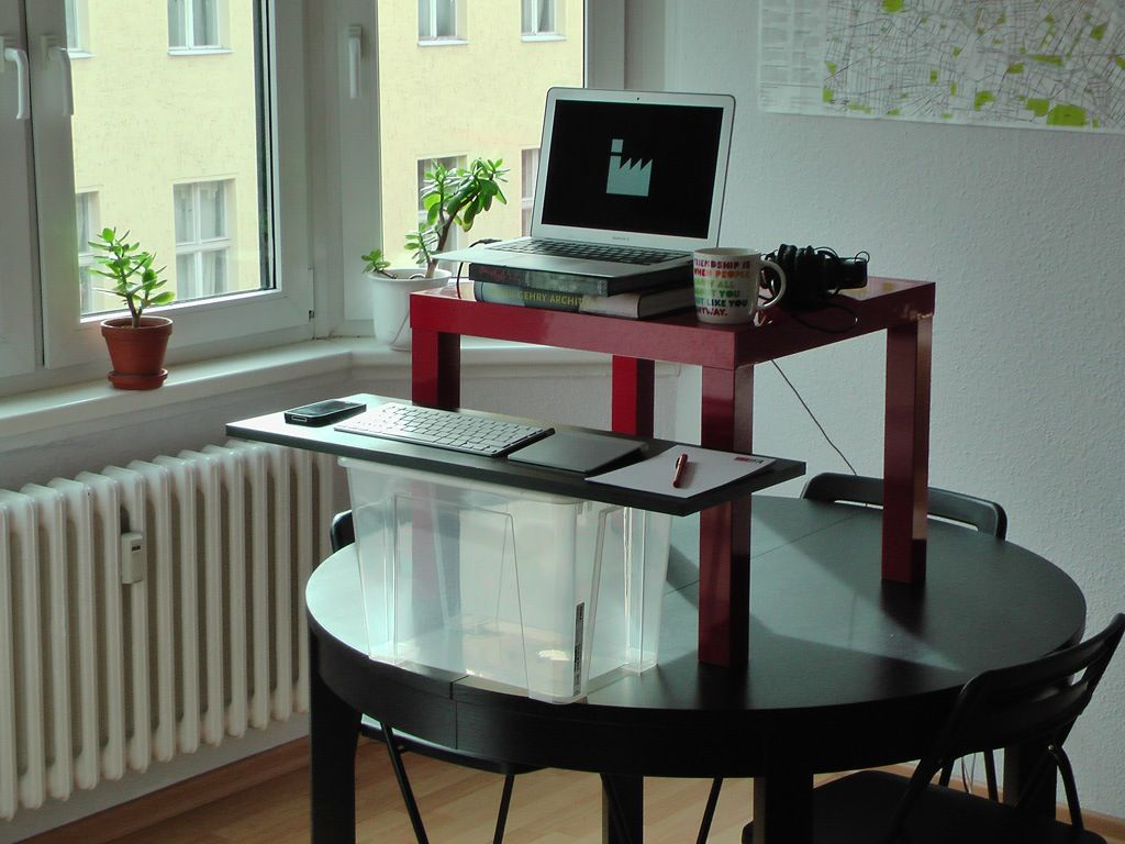 cool diy build your own stand up desk mounted on black round table